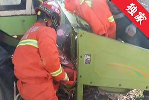【视频】驾驶员被收割机绞手 消防部门紧急救援