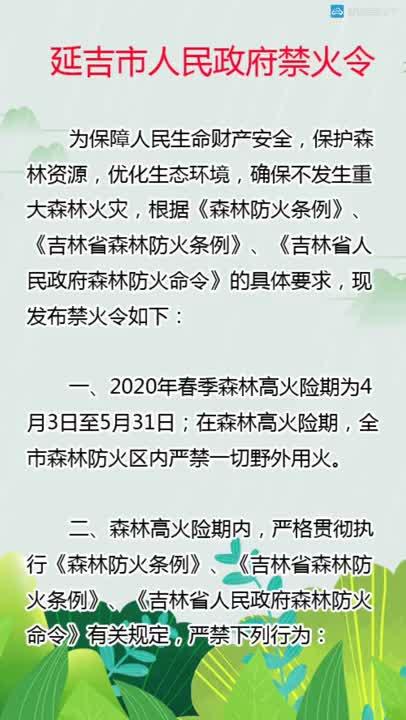 【微视频】延吉市人民政府禁火令