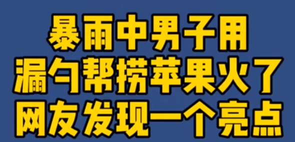 【微视频】暴雨中男子用漏勺帮捞苹果火了