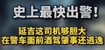 【微视频】 史上最快出警!延吉这司机够胆大!在警车面前酒驾肇事还逃逸……