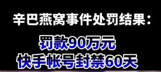 【微视频】辛巴因燕窝事件被罚90万元!快手帐号封禁60天!