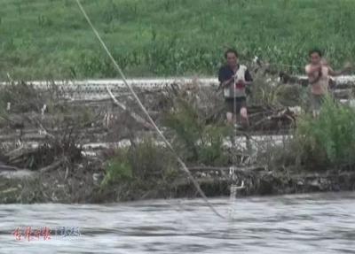惊险!汪清两村民救牛被困河中浅滩,消防员架近百米索道救援