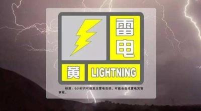延边州气象局雷电黄色预警信号