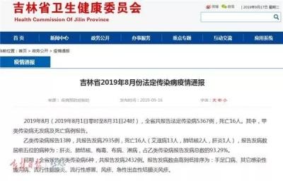 吉林省发布8月份传染病疫情!最近要当心这几种病