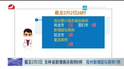 截至2月2日 吉林省新增确诊病例8例 我州新增疑似病例1例