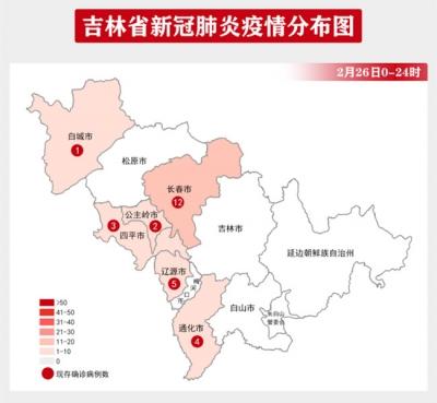 吉林省疫情动态及趋势图示(2020年2月27日公布)