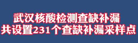 【微视频】武汉核酸检测查缺补漏,共设置231个查缺补漏采样点!