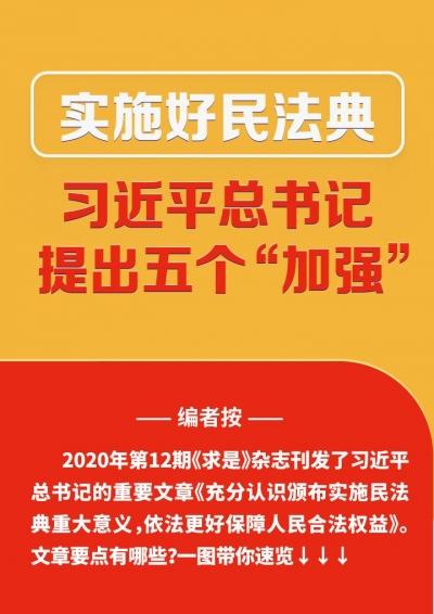 """实施好民法典 习近平总书记提出五个""""加强"""""""