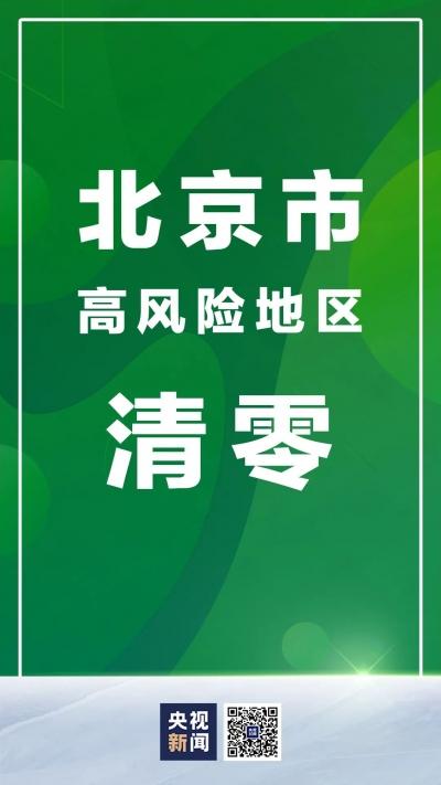 北京市高风险地区,清零!