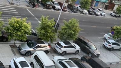 私家车不在停车位停车占用人行道、盲道