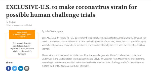 让健康人故意感染新冠病毒?美国疫苗研究引争议