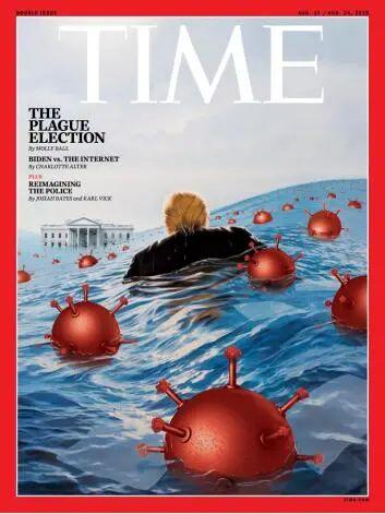 """《时代》周刊新封面:新冠病毒""""水淹""""白宫,特朗普被包围!"""