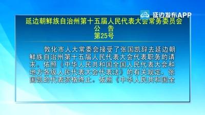 【视频新闻】延边朝鲜族自治州第十五届人民代表大会常务委员会公告(第25号)