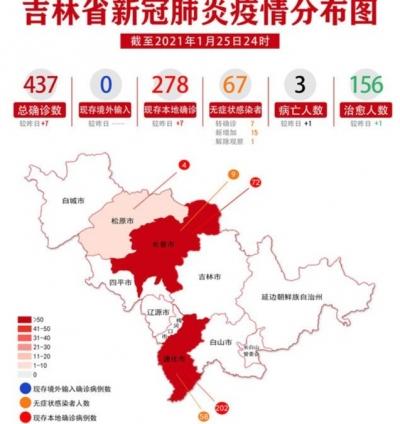 吉林省新冠肺炎疫情分布图(2021年1月26日公布)