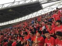 3000여명 연변 축구팬들 장춘시경제개발구체육장 입장