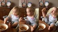 발로 씩씩하게 밥 먹어요.. 팔 없는 아기의 도전 '감동'