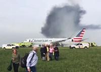 미국시카고 공항서 리륙하려던 려객기 화재 '아찔'