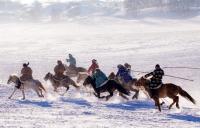 광활한 바상초원 눈밭을 달리는 말들, 너무 매력적이야